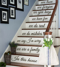 In This House Staircase Decal Family Quote Sticker for Stairs Home Decor kk480