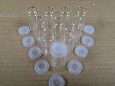 15 ml GLASS BOTTLES SAMPLES etc w/PLASTIC SNAP ON TOPS x 10
