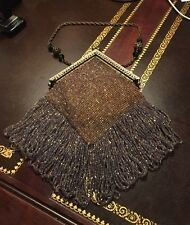 VINTAGE ART DECO FLAPPER STYLE CHAIN BEAD PURSE - BEAUTIFUL!!