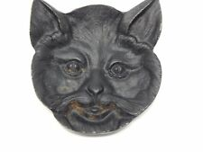Vintage antique metal Bob Cat Face Cast Iron Black Dish Trinket Tea Bag Spoon