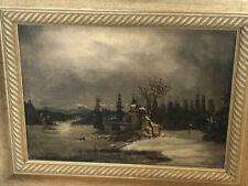altes Gemälde Öl Ölgemälde Nacht Schnee Wasser Boot Gebäude sehr stimmungsvoll