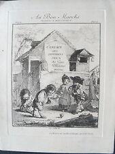 1m1 Ancienne gravure du Bon Marché jeux de polissons 19e