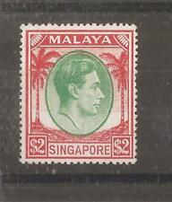 SINGAPORE 1948 $2 green and scarlet (perf 18) mh