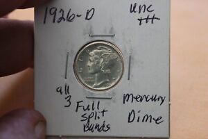 1926-D   ALL 3 BANDS SPLIT   UNC+++   MERCURY DIME
