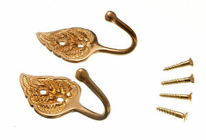 NEW CURTAIN TIE HOLD BACK HOOKS LEAF SOLID BRASS PLUS SCREWS (2 PAIRS)