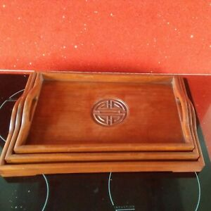 Set of 3 Vintage Mahogany Art Deco Style Chinese Graduated Wooden Serving Trays