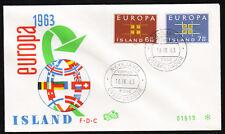 Island 373-74 FDC-Flaggenkugel, CEPT 1963