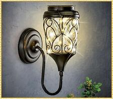 Solar Powered Lantern Glass Lamp Fixture Wall Mount Outdoor Exterior Porch Light