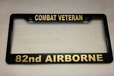 Military License Plate Frame, Polished ABS-COMBAT VETERAN/82nd AIRBORNE-841407G