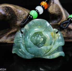100% Natural Hand-carved Jade Pendant Jadeite Necklace peony flower 451H
