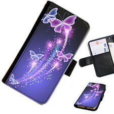 buttb03 mariposas Impreso Cuero Funda Tipo Cartera Funda para teléfono móvil