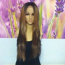 Ombre Mixed Brown with Blonde highlights  Lace Front wig 24'' heat resistant.