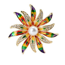 Luxury Colourful Enamel Flower Brooches Pearl Rhinestone Gold Plated Brooch Pin
