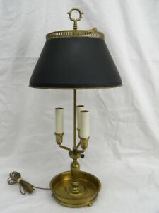 Vintage Brass Bouillotte 3-Arm Candle Stick Adjustable Tole Shade Table Lamp