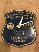 New York City Taxi Cab Medallion Clock 1998 to 1999 nyc license