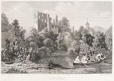THARANDT - BURGRUINE & KIRCHE - nach Ludwig Richter - Stahlstich 1836/1837