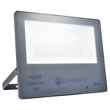 Ultrathin 100Watt Glass LED Floodlight with PIR Sensor Park Graden Spot Lamp UK