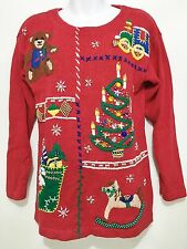 Ugly Christmas Sweater Womens PM Victoria Jones Petite Red Tree Train Bear Horse