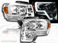 09-14 Ford F150 Chrome Housing Plank Style Projector Headlights w/LED Strip Bar