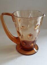 Vintage Thomas Webb Glass lemonade WATER jug Bullseye AMBER ART DECO