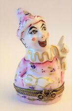 RARE LIMOGES Box Joker Pink Floral Signed CHAMART France Never Displayed NEW
