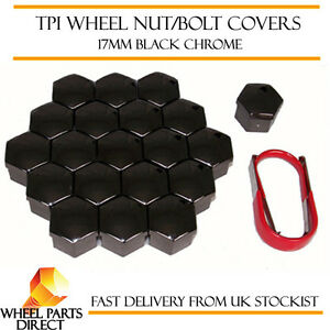 TPI Black Chrome Wheel Bolt Nut Covers 17mm Nut for Opel Astra [F] 91-02