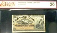 1900 DOMINION  OF CANADA 25 CENTS  FRACTIONAL BANKNOTE VF20