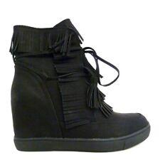 Scarpe Donna Ginnastica Sneakers Zeppa Interna Frange - Nero