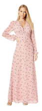 Juicy Couture Balloon Sleeve Maxi Dress Pink Rosewater Tossed Floral 0 $298