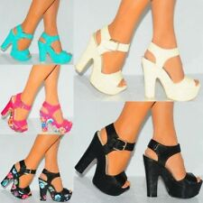 High (3 in. to 4.5 in.) Synthetic Floral Heels for Women