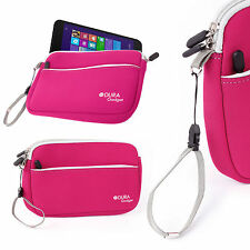 Pink Soft Neoprene Zip Case for LG G Pad 8.3 with Convenient Strap