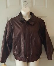 Star Sportswear Vintage Leather Bomber Jacket Dark Brown Men's Size Small