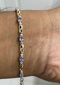 "Estate 10k Yellow Gold Women's 1.50CT Tanzanite and Diamond Tennis Bracelet 7"""