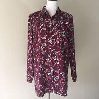 J Jill Women's Red Floral Long Sleeve Size Medium Button Up Blouse Tunic