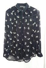 Mint Velvet women black blouse Sheer cream  Swans print Size10 office smart 1BK7