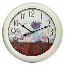 47cm Vintage Style Shabby Chic Large Metal w/ Paris & Lavender Scene Wall Clock