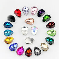 10PCS Tear Drop Glass Crystal Rhinestone Beads Sew On Gem TOP Quality *5 SIZES*