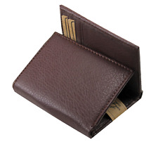 Mens Trifold Grain Leather Wallet Billfold Credit Card Window ID License Brown