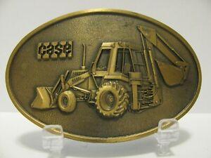 J I Case Construction King 580D Loader Backhoe Tractor Brass Belt Buckle #0352