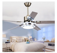 """48/52"""" Modern Ceiling Fan Light Remote Control 5 Stainless Steel Blades Dimmable"""