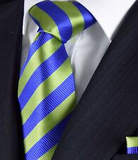 Gold Luxury NEW Blue & Brown Stripe Tie Silk FREE Matching Hanky