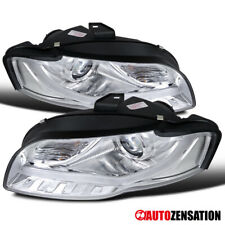 For 2006-2008 Audi A4 Clear Fiber Optic LED DRL Projector Headlights Lamps Pair