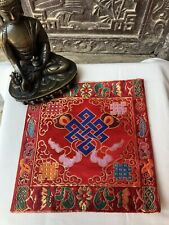 Tibetan Red Endless Knot silk brocade table cover/ altar cloth/ shrine placemat