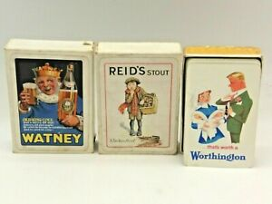 3 X Sets Of Vintage Playing Cards Reid's Stout, Worthington, Watney Pale Ale