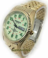 SWANSON MENS WATCH JAPAN GOLD DATE,MILITARY NEW Water Resistant GLOW IN THE DARK