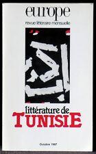 Europe octobre 1987 Littérature de Tunisie Très bon état