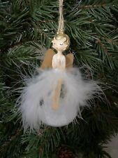 Christbaumkugel Engel Federn Weihnachten Shabby Deko weiss vintage
