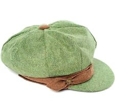 4ba2910b5fc Green Herringbone Baker Boy Hat   gloves - made with Donegal tweed for  ladies