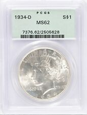 1934-D Peace Dollar PCGS MS62 in Old Green Holder - Nice Luster! #BFK11