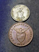 1936 M Philippines One Centavos Coin + SILVER 1944 D 20 Centavos Coin #1076